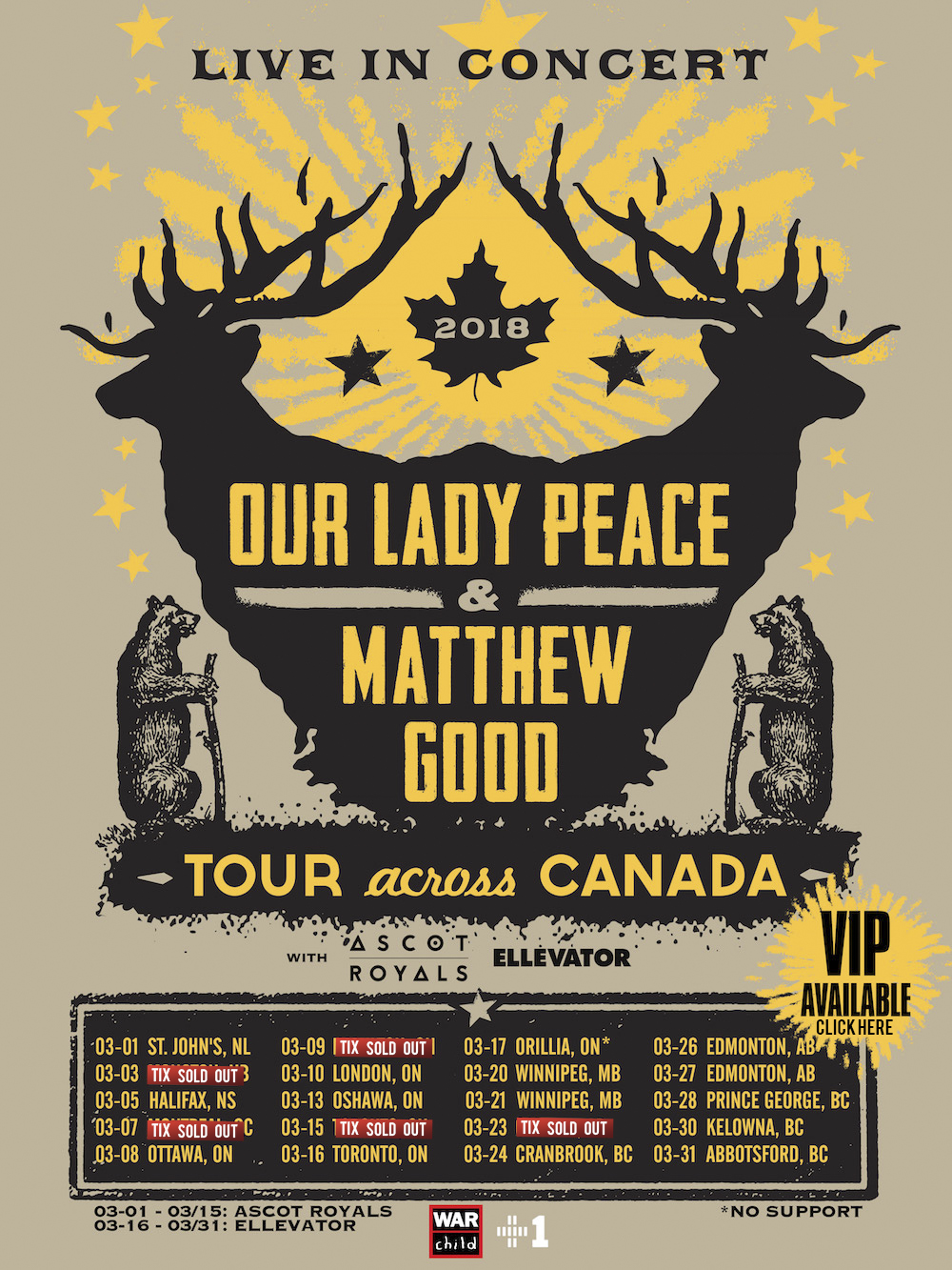 2018, Our Lady Peace, Cross Canada Concert Tour